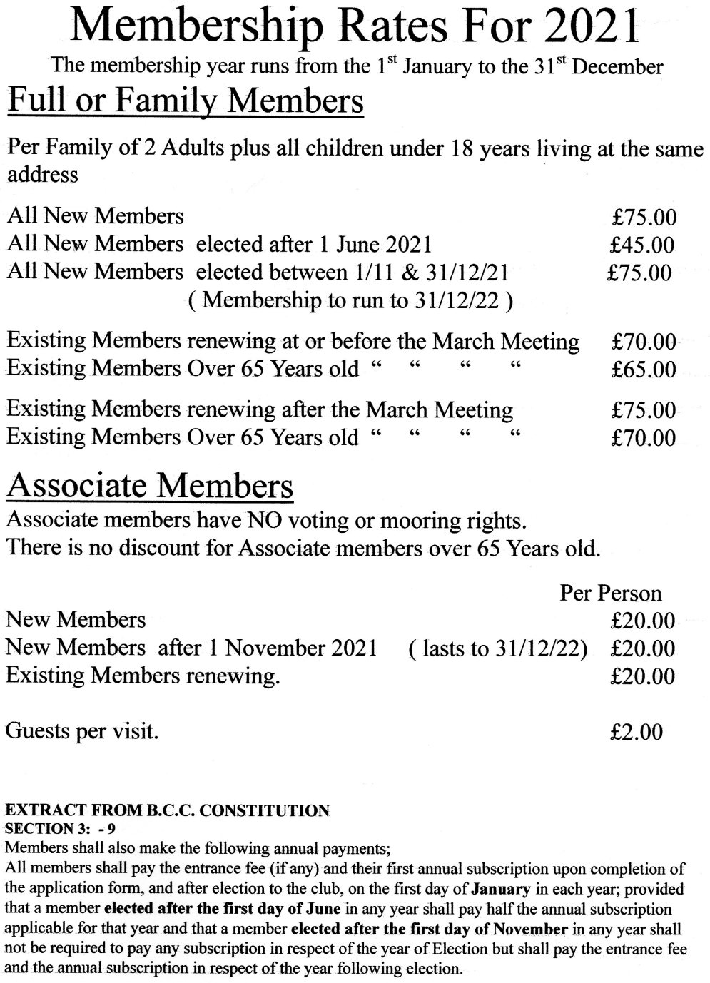 BCC Membership rates 2021